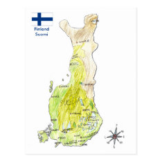 Hand Drawn Color Map Of Finland Postcard at Zazzle