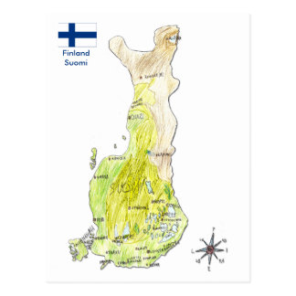 Hand Drawn Color Map of Finland Postcard