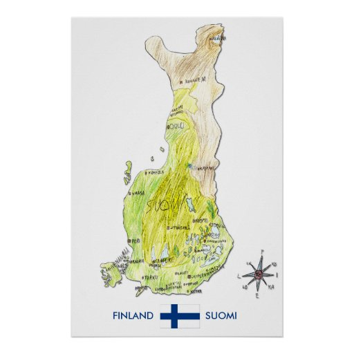 Hand Drawn Color Map of Finland Poster