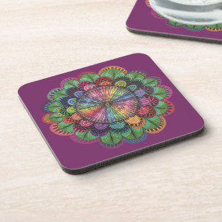 Hand Drawn Colorful Flower Beverage Coaster