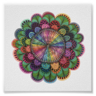 Hand Drawn Colorful Flower Poster