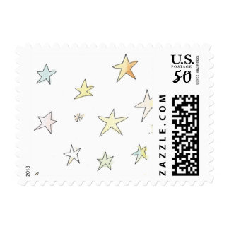 Hand Drawn Colorful Stars and Snowflakes Stamp