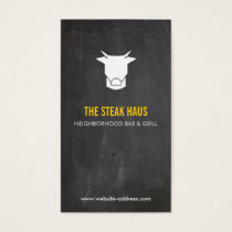 HAND-DRAWN COW LOGO 2 for Restaurants, Chefs, Pubs Business Card