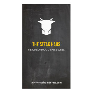 HAND-DRAWN COW LOGO 2 for Restaurants, Chefs, Pubs Double-Sided Standard Business Cards (Pack Of 100)