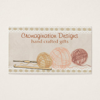 Hand drawn crayon yarn crochet hooks gift tag card