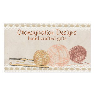 Hand drawn crayon yarn crochet hooks gift tag card Double-Sided standard business cards (Pack of 100)