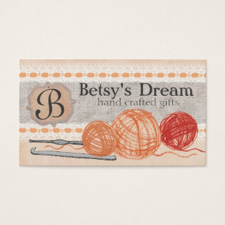 Hand drawn crayon yarn crochet hooks shabby chic business card