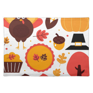 Hand drawn creative Autumn Icons Cloth Placemat