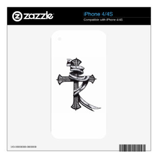 Hand Drawn Cross Decal For iPhone 4