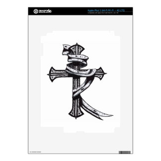 Hand Drawn Cross Skin For iPad 3