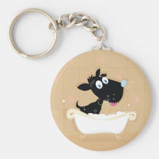 Hand drawn cute Black dog in bath Keychain