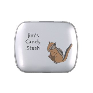 Hand-drawn Cute Brown Chipmunk Customizable Candy Tin