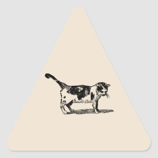 Hand Drawn Cute Cat Kitten Drawing Triangle Sticker