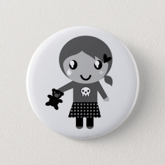 Hand drawn cute Girl with bear Pinback Button