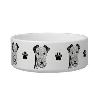Hand Drawn Cute Terrier Art Dog Bowl