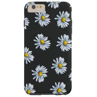 Hand Drawn Daisy Flowers on Black Background Tough iPhone 6 Plus Case