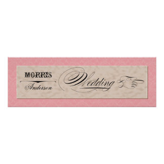 Hand Drawn Damask Pink n Cream Directional Signs