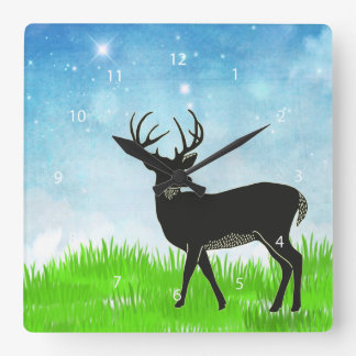Hand drawn deer square wall clock