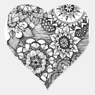 hand drawn doodle flower heart sticker