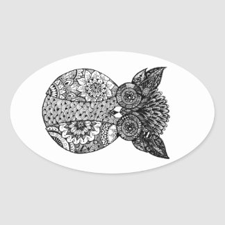 hand drawn doodle owl oval sticker