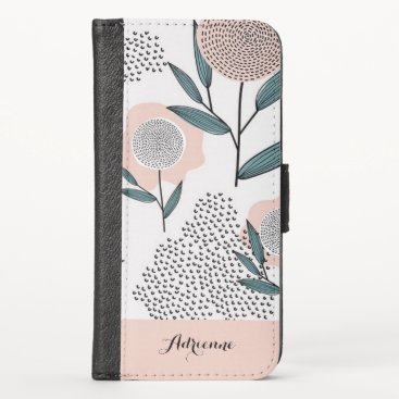 Hand Drawn Dusty Pink Floral Custom Name iPhone X Wallet Case