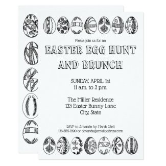 Hand Drawn Easter Eggs Coloring Easter Invitation