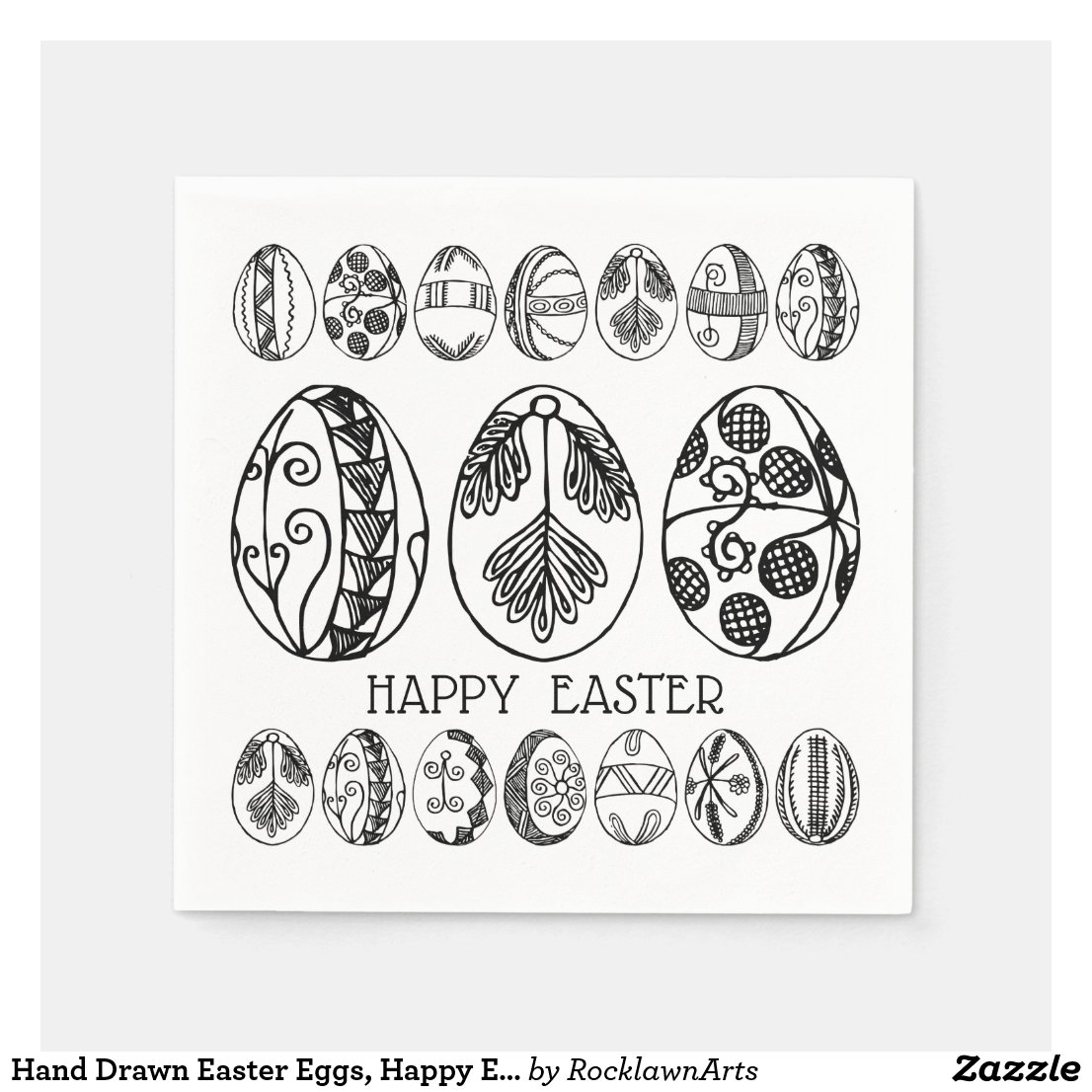 Hand Drawn Easter Eggs, Happy Easter Brunch Party Paper Napkin