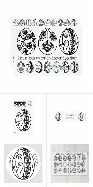 Hand Drawn Easter Eggs Invitation Set and Gifts