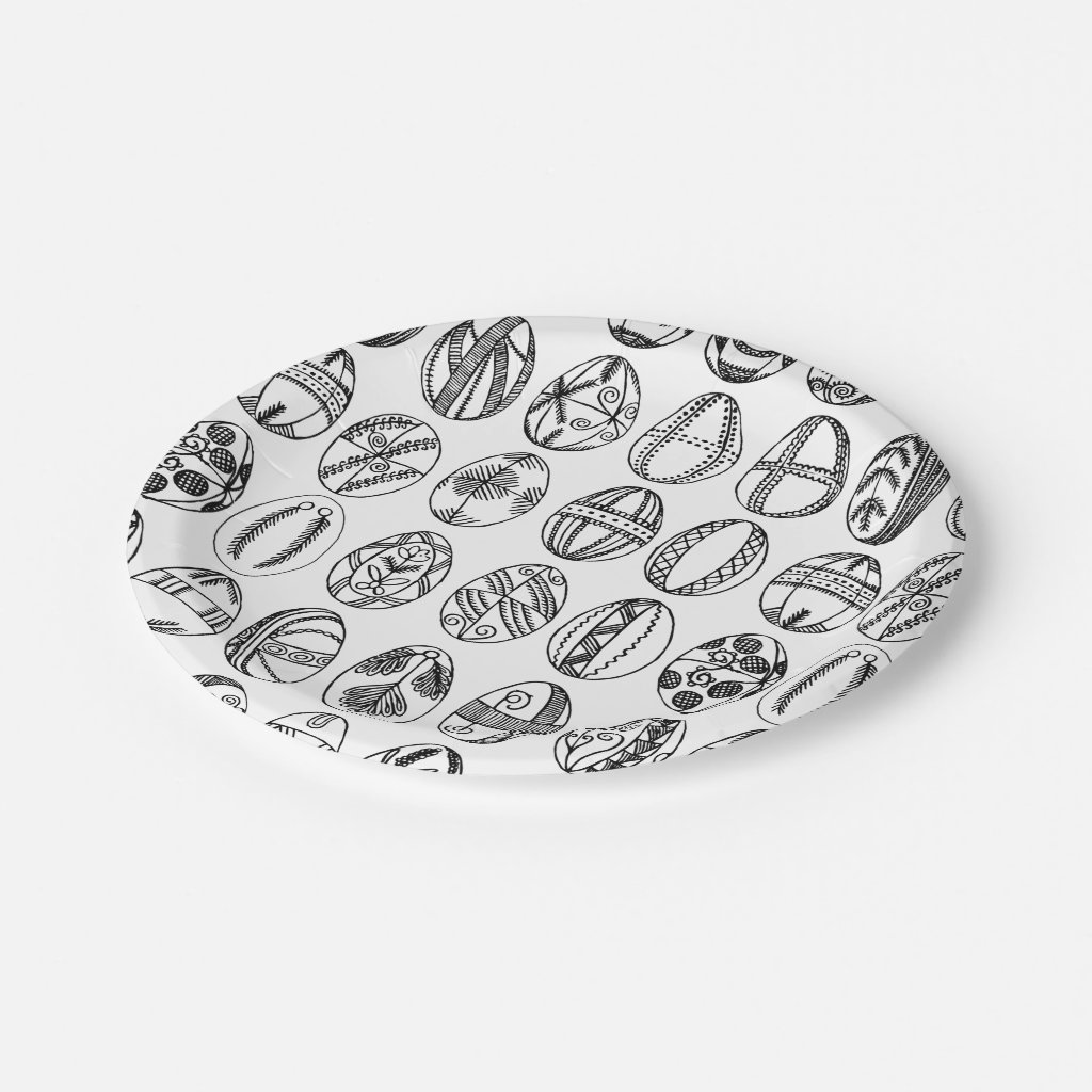Hand Drawn Easter Eggs Line Drawing, Easter Party Paper Plate