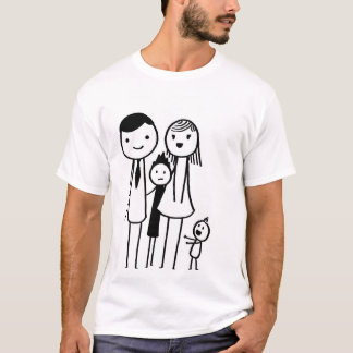 hand-drawn family of four T-Shirt