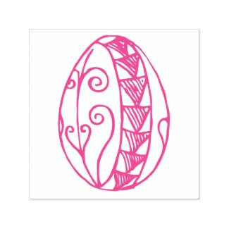 Hand Drawn Fancy Easter Egg Drawing Custom Color Self-inking Stamp