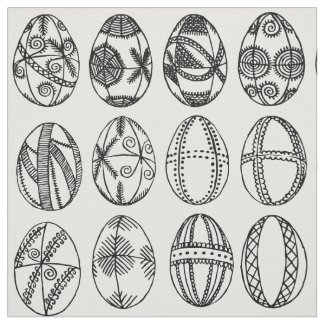 Hand Drawn Fancy Easter Eggs Adult Coloring Fabric
