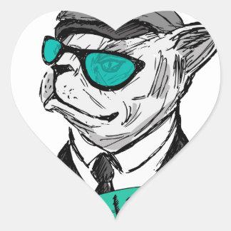 Hand Drawn Fashion Portrait of Bulldog Hipster Heart Sticker