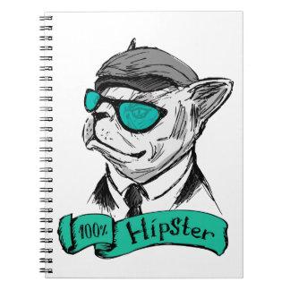 Hand Drawn Fashion Portrait of Bulldog Hipster Notebook