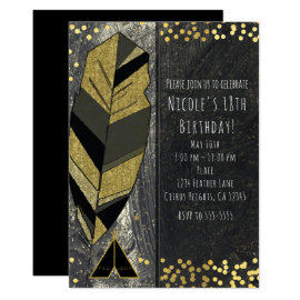 Hand Drawn Feather & Tepee Gold Black Invitations