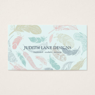 Hand Drawn Feathers Choose Any Paper Color Business Card