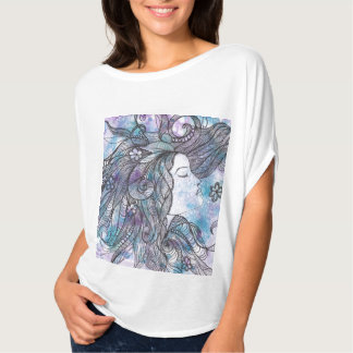 Hand Drawn Feminine Bella Canvas Flowy Circle Top T Shirt