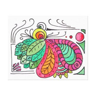 Hand Drawn Floral Arabesque - red and green Canvas Prints