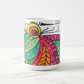 Hand Drawn Floral Arabesque - red and green Coffee Mug