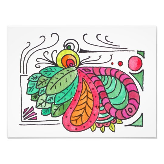Hand Drawn Floral Arabesque - red and green Photo Print