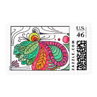 Hand Drawn Floral Arabesque - red and green Stamp