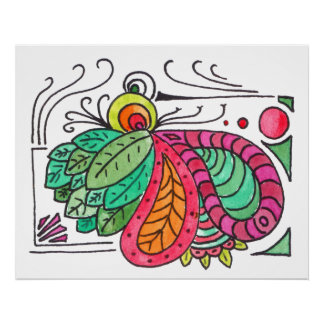 Hand Drawn Floral Arabesque - red and green Poster