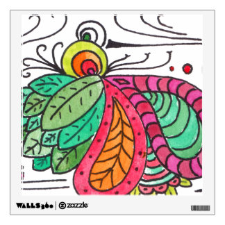 Hand Drawn Floral Arabesque - red and green Wall Decor