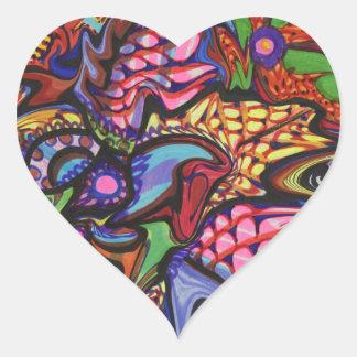 Hand drawn floral artwork heart sticker