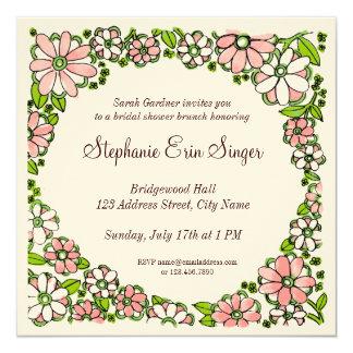 Hand Drawn Floral Border Invitation, Pink Green Sq 5.25x5.25 Square Paper Invitation Card