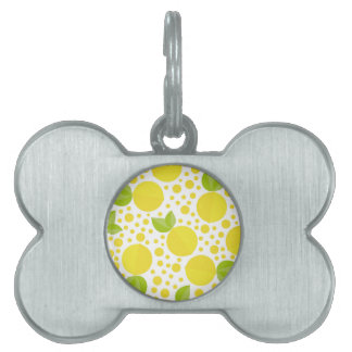 Hand drawn floral elements & lemons pet tag