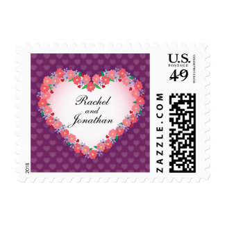 Hand Drawn Floral Heart Personalized Wedding Postage Stamp