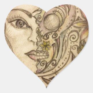 Hand drawn floral skull art heart sticker