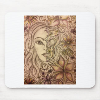 Hand drawn floral skull art mouse pad