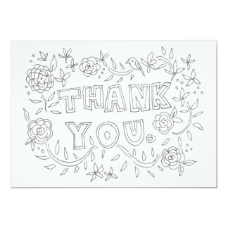 Hand Drawn Floral Thank You Coloring Card